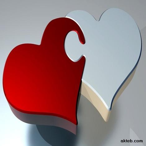 قلب ابيض وقلب احمر